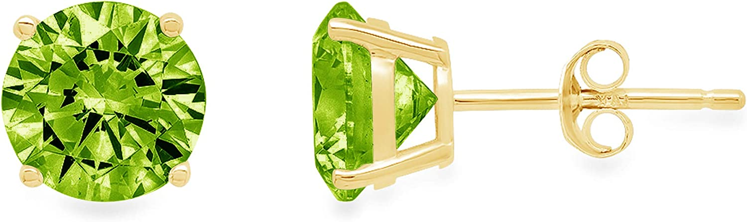 0.44cttw Brilliant Round Cut Solitaire Designer Genuine Natural Pure Green Peridot Gemstone Unisex Flawless pair of Stud Earrings Solid 14k Yellow Gold Push Back