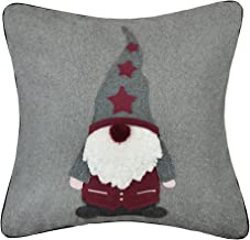 KING Rose Santa Claus Christmas Decorative Throw Pillow Case Wool Embroidered Applique Ball Cushions Cover for Sofa Couch Chair 18 x 18 Inches