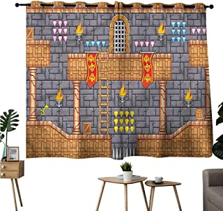 Diycon Simple Curtain Kids Retro Video Game Quest Fantasy Durable W63 xL45 Suitable for Bedroom Living Room Study,etc