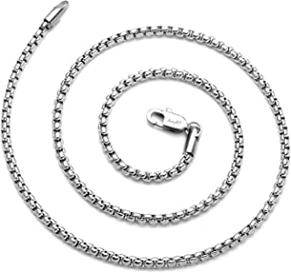 "Sponsored Ad - AmyRT Jewelry 3mm Titanium Steel Rolo Silver Chain Necklaces for Women Men 16"" - 30"""