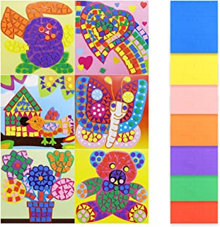 Kuqqi 6 Pack EVA Mosaic Sticker Mosaic Painting DIY Educational Toys Handmade Sticker Mosaic Foam Pictures Foam Mosaic Cra...