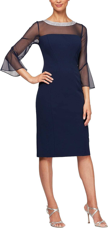Alex Evenings Womens Long Shift Dress Illusion Neckline (Petite and Regular) Special Occasion Dress
