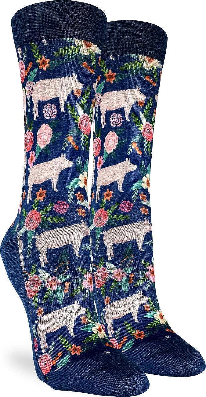Good Luck depot Sock Women's Floral Pigs Shoe Adult Socks Size - Blue Ranking TOP14