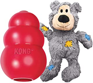 KONG - Classic and Wild Knots Bear - Dog Chew Toy and Stuffed Dog Rope Toy - for Large Dogs