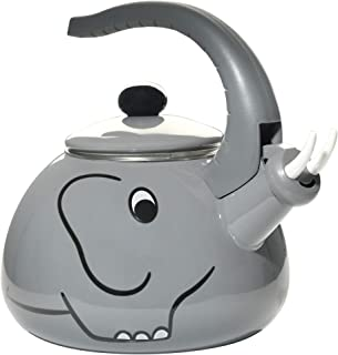 HOME-X Gray Elephant Whistling Tea Kettle, Animal Teapot, Kitchen Accessories and Décor