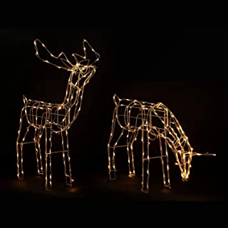 Homegear 2 Christmas Reindeers Pre-Lit Lawn Yard Decoration Indoor/Outdoor Use