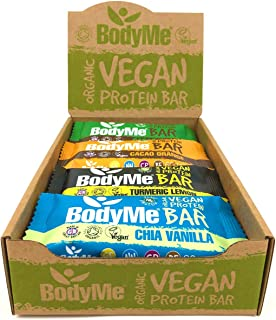 BodyMe Organic Vegan Protein Bar | Mixed Box | 12 x 60g Vegan Protein Snack Bars | Gluten Free | 16g Complete Protein | 3 ...