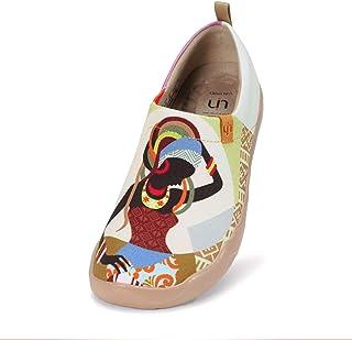 UIN Chaussures Bateau Femmes, Toile Chaussure Confort Femme Voyage Baskets de Sports Trekking Sneakers Peinte Mocassins Ch...