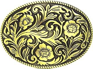 MASOP Antique Engraved Flower Solid Metal Belt Buckle Men Women Western Cowboy