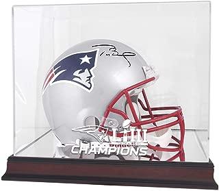 Tom Brady New England Patriots Autographed Riddell Pro-Line Helmet with Mahogany Base Super Bowl LIII Champions Helmet Display Case - TRISTAR - Fanatics Authentic Certified