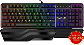 Bloody Gaming B975 Light Strike Optical Gaming Computer Keyboard |Instant Actuation | Spill-Resistant Design | RGB LED Backlit Keyboard | Tactile & Clicky Feedback | Ergonomic Detachable Wrist-Rest