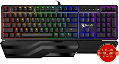 Bloody Gaming B975 Light Strike Optical Gaming Computer Keyboard |Instant Actuation | Spill-Resistant Design | RGB LED Bac...