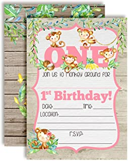 Our Little Monkey Watercolor Jungle First Birthday Party Invitations for Girls, 20 5