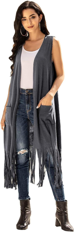 Beyove Womens Sleeveless Cardigan Vest Open Front Draped Long Duster with Pockets Tassels Hem