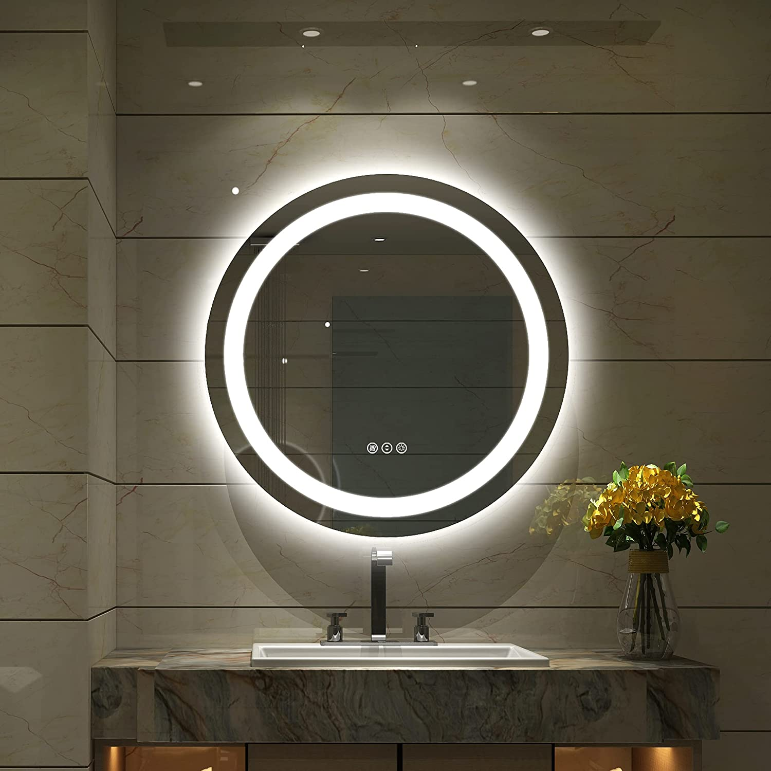 Amorho LED Bathroom Shipping included Mirror Circle 20 Daily bargain sale Round w Vanity Inch