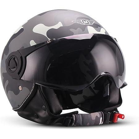Moto Helmets H44 Camouflage Jet Helm Motorrad Helm Roller Helm Scooter Helm Bobber Mofa Helm Chopper Retro Cruiser Vintage Pilot Biker Helmet Ece Visier Schnellverschluss Tasche S 55 56cm Auto