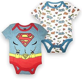 a0f0c7d1e Batman Superman Baby Boys Newborn Infant 2 Pack Snap Closure Bodysuit Onesie