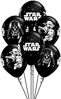 Qualatex Star Wars Biodegradable Latex Balloons Onyx Black with White Prints All-Around of Darth Vader and Yoda, 11-Inch R...