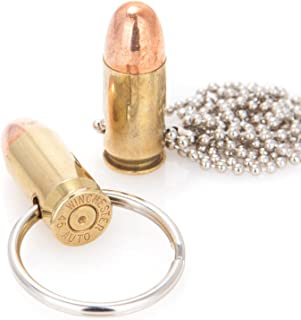Lucky Shot Genuine Once-Fired 45 Caliber Bullet Keychain and Necklace Combo Pack