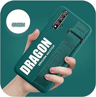 For Huawei Mate 30 20 P40 P30 Pro Y9S Honor Plus V20 9X P20 Lite Nova 3e 7i 4e 5TソフトマットシリコンカバーFundaのおしゃれなハンドSケース-Green Dra...
