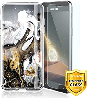 TJS Phone Case for Samsung Galaxy J2 Core/J2 2019/J2 Pure/J2 Dash/J2 Shine, with [Tempered Glass Screen Protector] Ultra Thin Slim TPU Matte Color Marble Transparent Clear Soft Skin (Black/White/Gold)