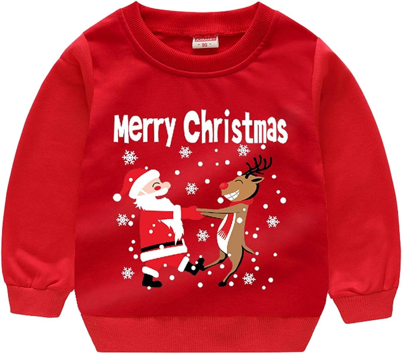 Qiribati Girls Boys Christmas Pullover, Christmas Santa Claus Crewneck Sweater for 2-8 Years Children