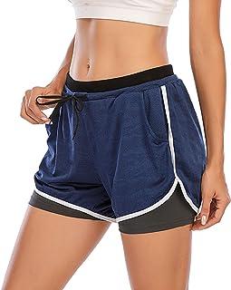 SKUN Pantalones Cortos de Deporte 2 en 1 para Mujer Pantalones Cortos Deportivo de Yoga para Hacer Ejercicio Pantalones Cortos para Deporte al Aire Libre Respirable