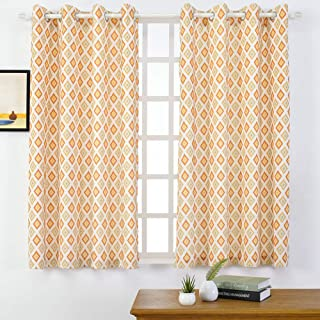 Linen Blend Curtains - Moroccan Tile Pattern Print Curtain Window Curtain Panels for Living Room Geometry Lattice, Grommet Top Drapes for Bedroom, Patio, Parlor (52