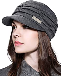 WETOO Womens Peaked Newsboy Cap for Women Soft Cotton Women Hats with Visor Rib Baker Boy Turban Chemo Baggy Beanie