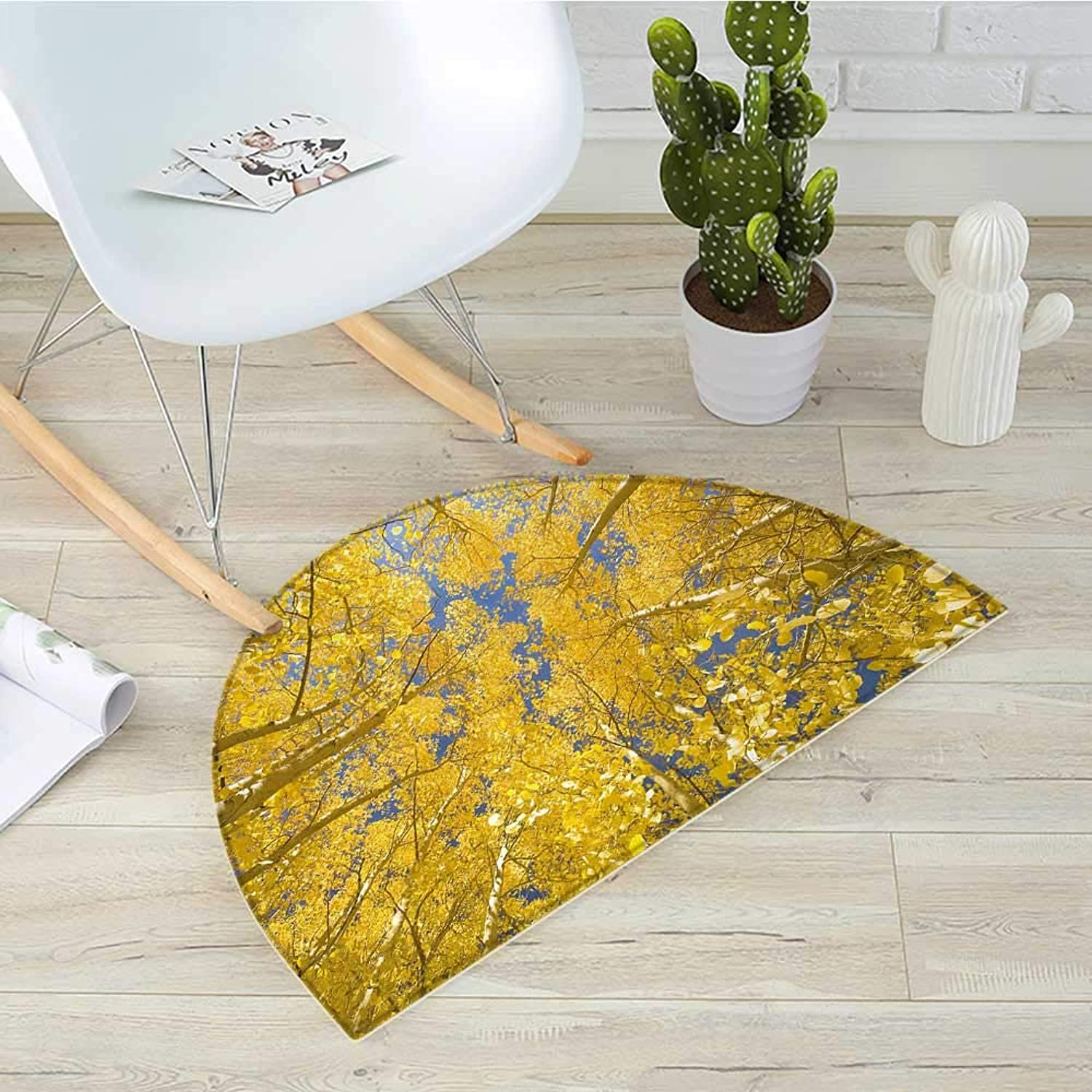 Yellow and bluee Semicircle Doormat Looking Skyward Amongst The Patch of Sun-lit Aspen Trees in Autumn Life Print Halfmoon doormats H 31.5  xD 47.2  Yellow