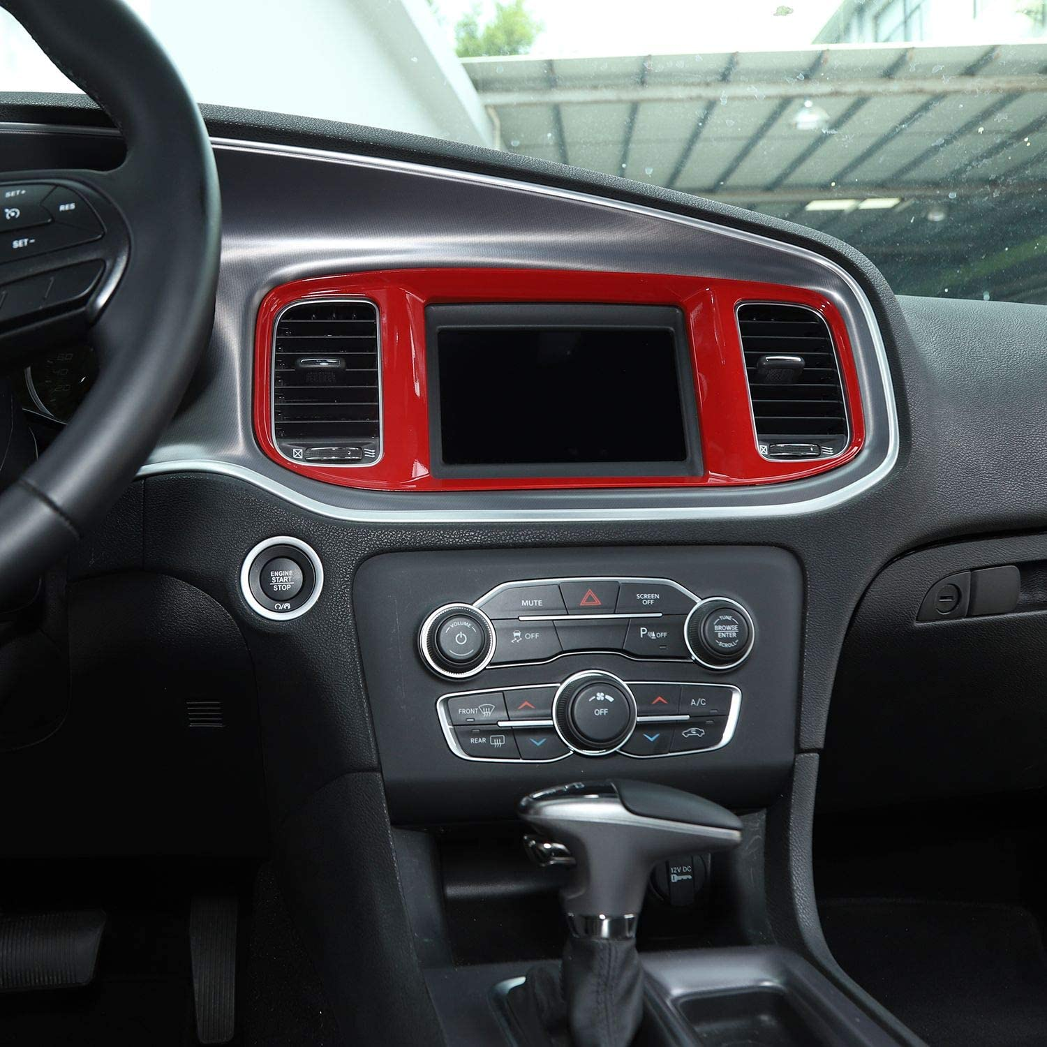 ABS Red//Black Fiber 1pc Voodonala for Charger Center Consoles Navigation GPS Decoration Trim for 2015-2019 Dodge Charger
