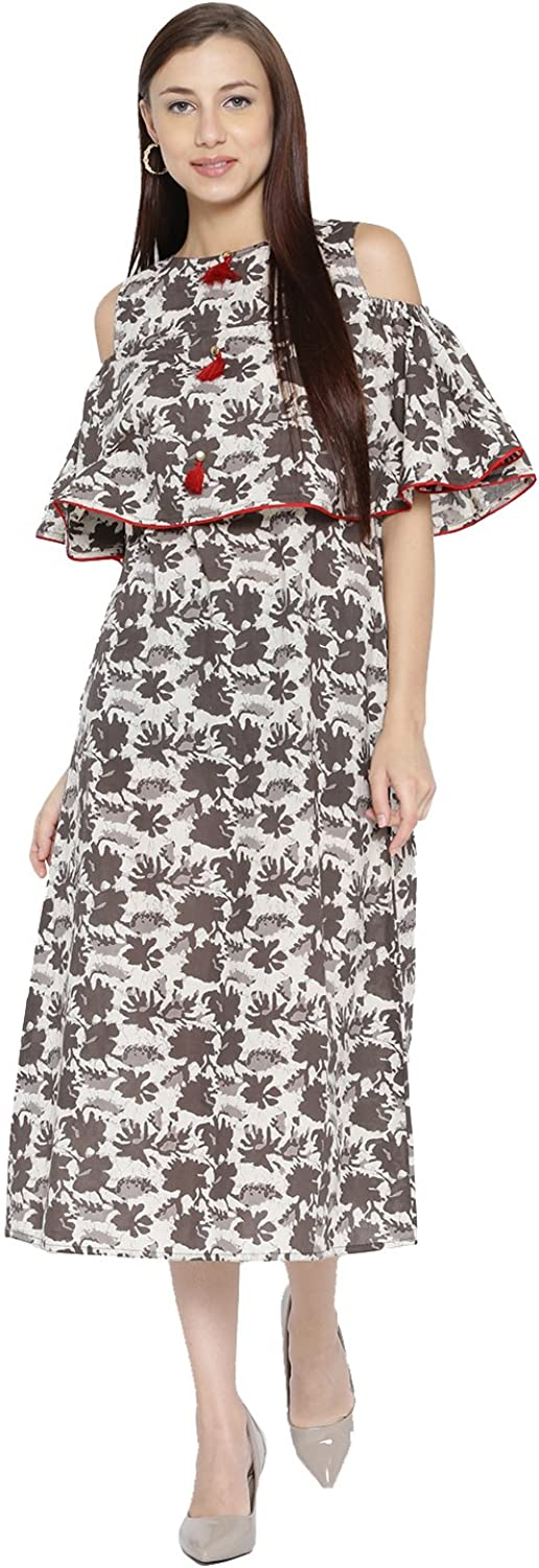 Desi Fusion Women Casual Tunic Long Maxi Printed Cold Shoulder ALine Dress (Brown)