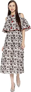 Desi Fusion Women Casual Tunic Long Maxi Printed Cold Shoulder A-Line Dress (Brown)