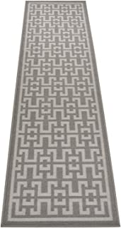 Ancient Greek Style Design Printed Slip Resistant Rubber Back Latex Runner Rug and Area Rugs (Grey, 1'11