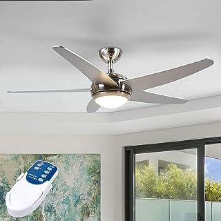 LED Ventilador de techo con lámpara 'Anneka' (Moderno) en Gris hecho de Madera e.o. para Salón & Comedor (1 llama, A++) de Lindby | Ventilador