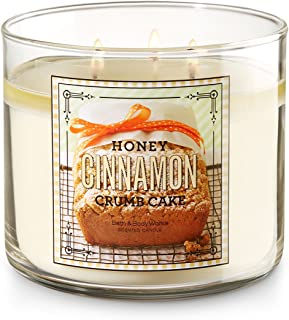 Bath and Body Works 3 Wick Scented Honey Cinnamon Crumb Cake Candle 14.5 Ounce