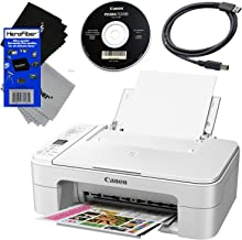 Canon Wireless Inkjet Printer PIXMA TS3120 All-in-One Compact Printer for Home Use with Print, Scan, Copy (White) + Set of Ink Tanks + USB Printer Cable + 2 HeroFiber Ultra Gentle Cleaning Cloths