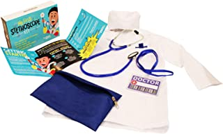 DIY jr My First Stethoscope Doctor's Kit - Real Stethoscope for Kids - Includes Lab Coat, Surgical Cap, Name Tag and Lanyard, Ages 6+