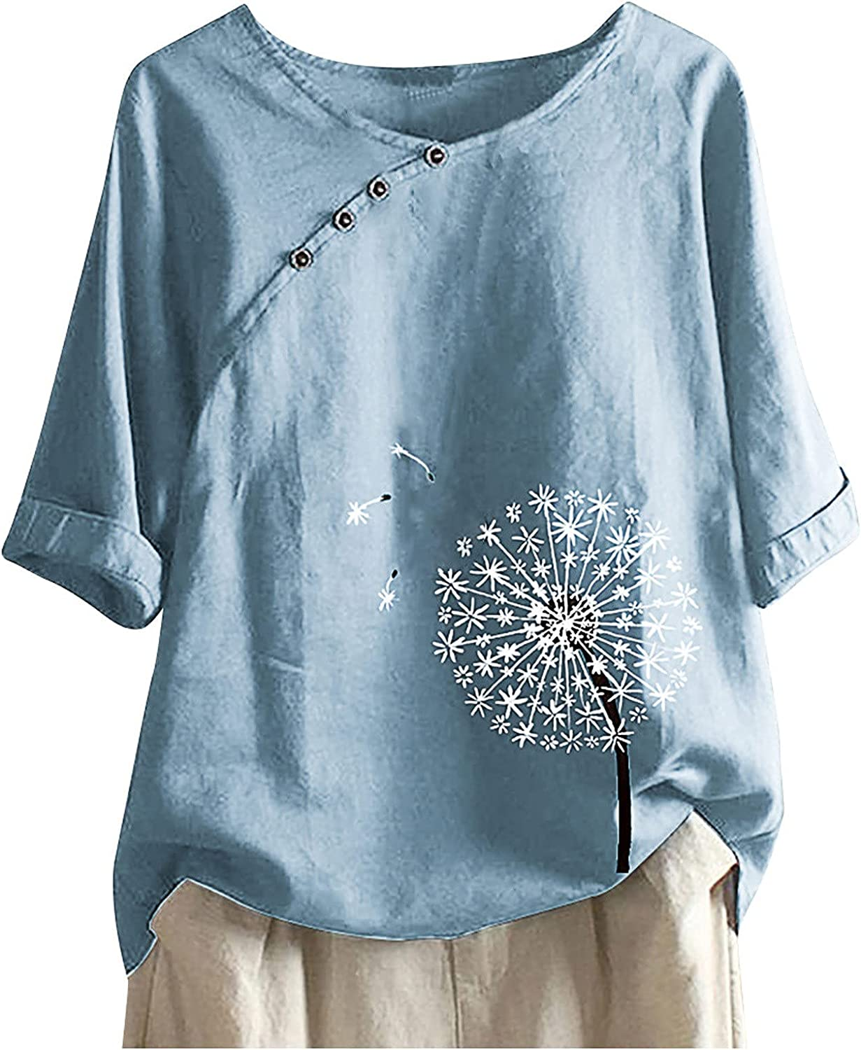 Women's Plus Size 3/4 Sleeve Tees Cotton Linen Tops Loose Fit Floral Print Casual Shirt Crew Neck Tunic Blouses