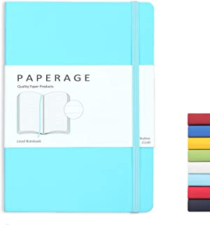 Paperage Journal Lined Notebook, Soft-touch Faux Leather Cover, Medium 5.6 x 7.9 Inches, 100 gsm Thick Paper (Skyblue, Lined)