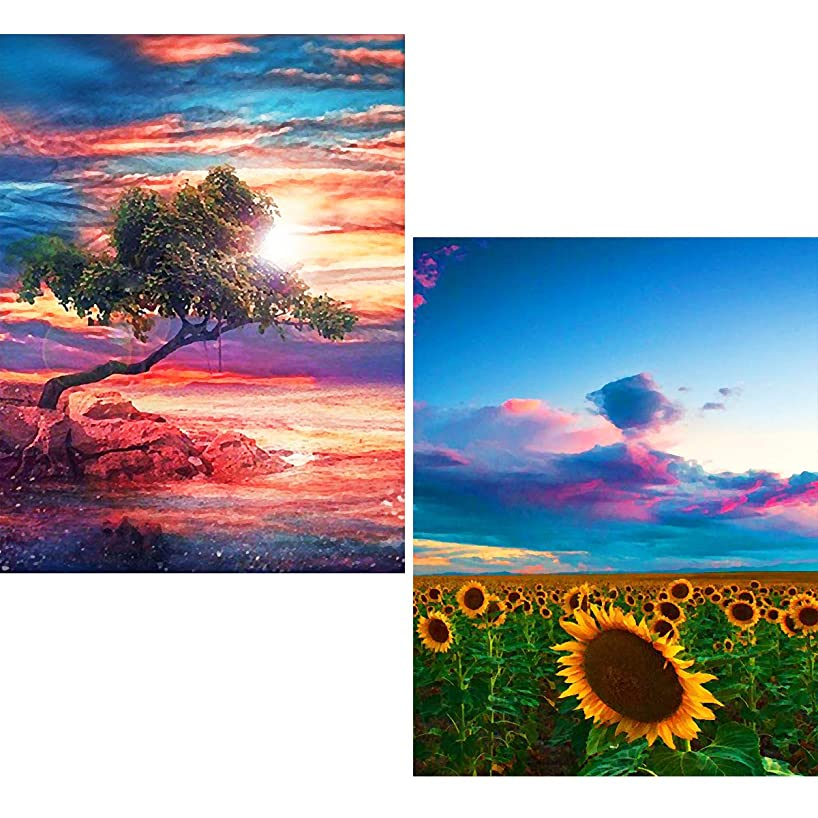 Ginfonr 5D DIY Diamond Painting Full Drill Cloud Tree & Sunflower Field by Number Kits for Adults, Tree & Flower Embroidery Rhinestone Paint with Diamonds Art Decor (12 x 16 inch, 2 Pack)