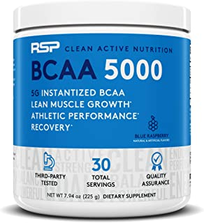 RSP BCAA 5000 (30 Serv), Premium BCAA Powder for Post Workout Muscle Recovery, Endurance & Energy, 5g of Essential Branched Chain Amino Acids, Blue Rasp (Packaging May Vary)
