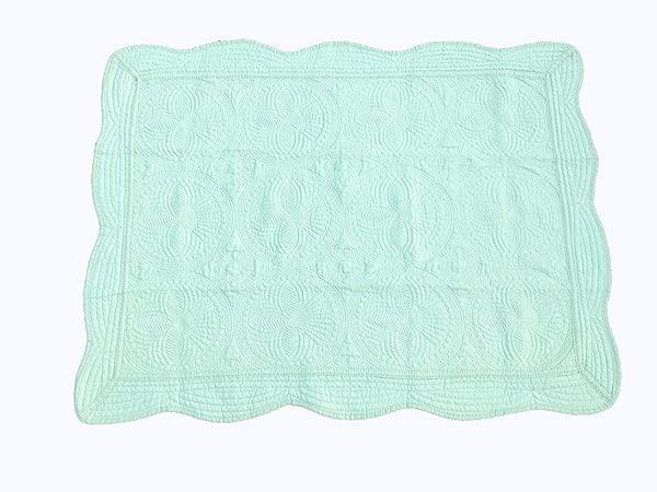 MONOBLANKS Cotton Baby Quilt Personlized Monogram Lightweight Embossed Scalloped Throw Blanket Four Seasons Mint