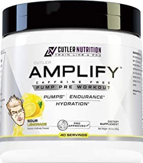 Amplify Caffeine Free Pre Workout for Men and Women: Stim Free Muscle Pump Enhancer, Hydration Powder with L Citrulline, C...