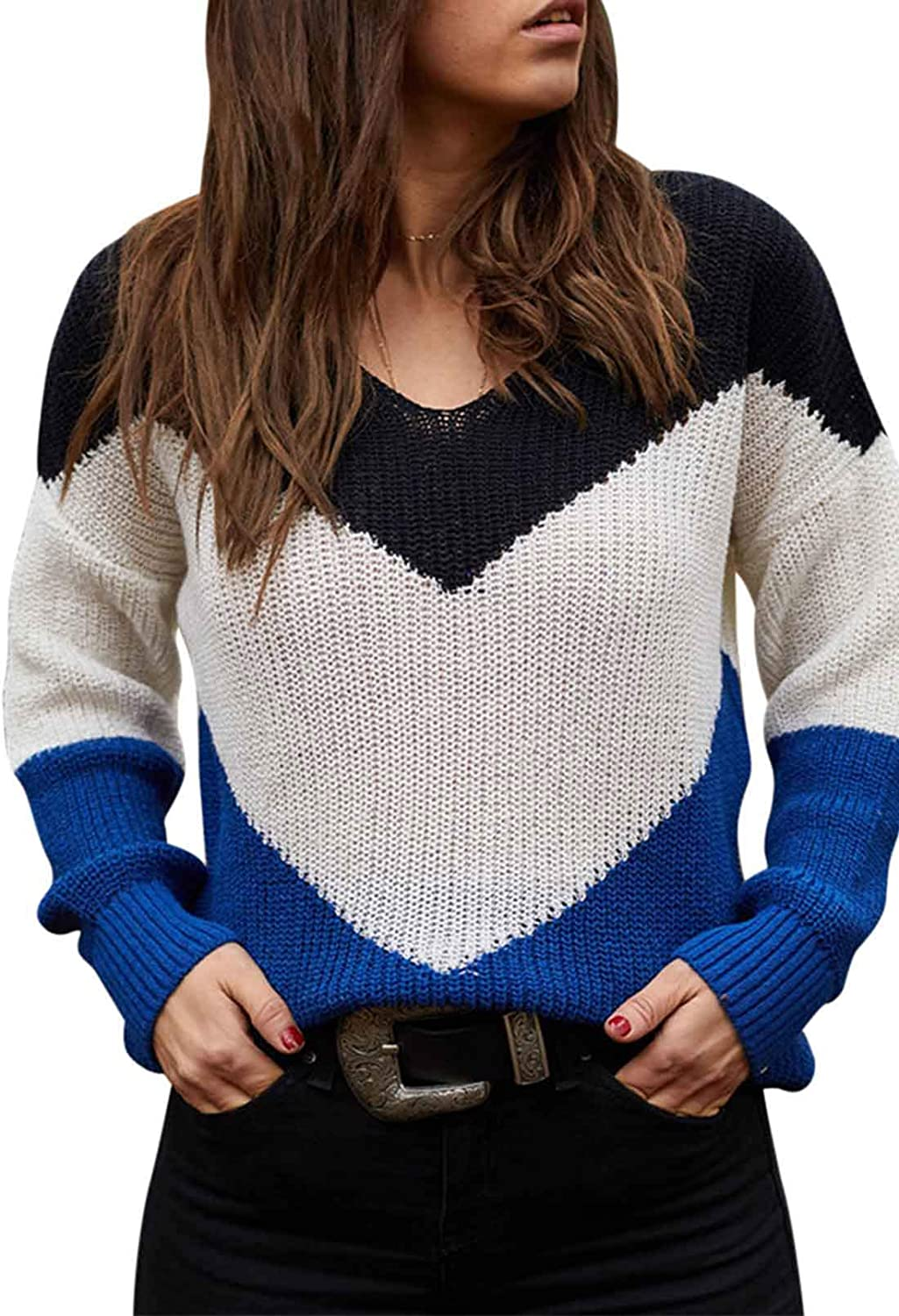 Linsery Women's Striped Color Block Knitted V Neck Long Sleeve Sweaters Off Shoulder Casual Pullover Tops