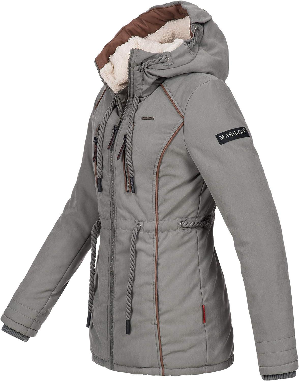 Marikoo Damen Winter Jacke warme Winterjacke Parka Mantel Teddyfell B610 Grau