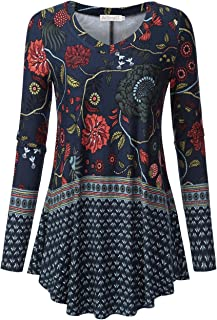 Women's Long Sleeve Loose Flared Tunic Top