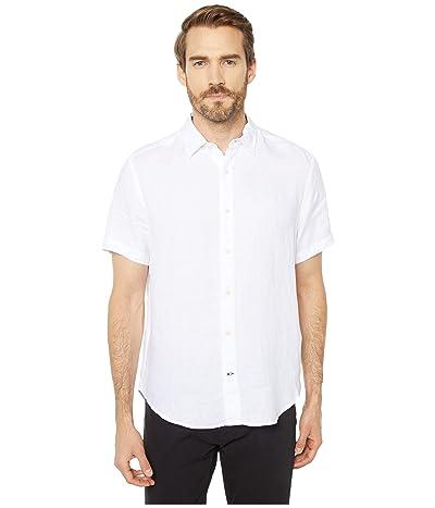 Nautica Short Sleeve Solid Linen Shirt (Bright White) Men