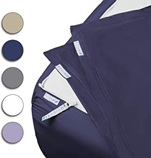 """QuickZip Fitted Sheet - Includes 1 Fitted Sheet Base & 2 Zip-On Sheets - Easy to Change, Fold & Wash Queen Sheet - Soft Sateen 400 TC Cotton Fitted Sheets - 16"""" Deep Pockets Queen Size Sheets – Navy"""