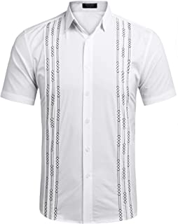 Men's Long Sleeve Cuban Guayabera Shirt Embroidered Button-Down Dress Shirts